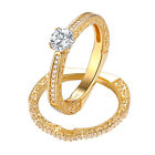 Wedding Engagement Ring Set 14K Yellow Gold 925 Sterling Silver Round White Cz