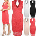 NEW LADIES FLORAL CROCHET LACE V NECK DRESS WOMENS MIDI BODYCON LONG TOP LOOK