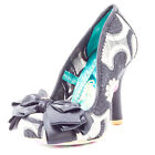 Irregular Choice Ascot Womens Fabric Black Gold Heels