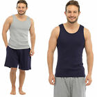 Mens Pyjama Short Vest Top SLEEVELESS &  Lounge SHORTS Bottoms Summer ht29