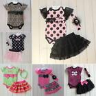 3pcs Baby Girl Infant Toddlers Suit Headband+bodysuit Dress Clothes Outfit New