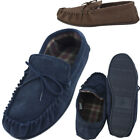 Lambland Mens Genuine Suede Moccasin Slippers with Cotton Lining and PVC Sole