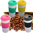 TRAVEL COFFEE TEA DRINK CUP MUG PLASTIC LID INSULATED HOT LEAKPROOF NON SPILL