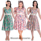 RKP117 Hell Bunny Lacey Flowers Rockabilly Swing Dress Retro Pin Up 50s Plus