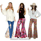 CL794 Flower Power Bell Bottom 60s 70s Hippy Hippie Retro Costume Pants Trousers