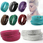 New Unisex Leather Wrap Wristband Cuff Punk Crystal Rhinestone Bracelet Bangle