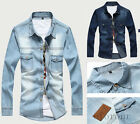 Fashion New Luxury Men's Slim Fit Stylish Long Sleeves Denim Shirts Blouse Tops