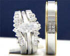 Stainless Steel Solitaire CZ Womens Engagement Mans Wedding Bridal Band Ring Set