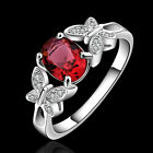 Jewelry Women Sterling Silver Ruby Crystal Engagement Wedding Ring Size 7 8 New