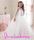 White/Ivory Long Sleeve Lace Flower Gril Dress First Communion Pageant Dress2-14