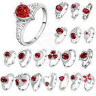 1PC Ruby Wedding Rings Size 8-10 Women's 925 Silver Plated Engagement Jewelry