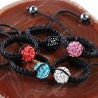 Fashion Crystal Round Ball Bead Handmade Woven Finger Ring Hematite Macrame Gift