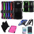 Phone Case For LG Spree 4G LTE Holster Cover Stand Tempered Glass Screen