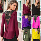 Summer Sexy Womens V-neck Tops Tee Long Sleeve Chiffon Casual Blouse Loose Shirt