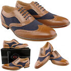 Mens Gents New Tan Navy Lace Up Smart Gatsby Brogue Shoes FREE EXPRESS DELIVERY