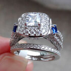 2ct Princess Blue Sapphire 925 Sterling Silver Engagement Wedding Ring Set 5-10