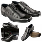 Mens New Black Leather Lined Smart Lace Up Gibson Shoes FREE EXPRESS DEIVERY