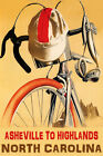 BICYCLE ASHEVILLE TO HIGHLANDS NORTH CAROLINA BIKE RIDE USA VINTAGE POSTER REPRO