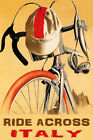 BICYCLE RIDE ACROSS ITALY CYCLING BIKE SPORT TRAVEL VINTAGE POSTER REPRO