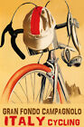 BICYCLE GRAN FONDO CAMPAGNOLO CYCLING COMPETITION ITALY VINTAGE POSTER REPRO
