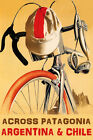 BICYCLE CYCLING ACROSS PATAGONIA ARGENTINA CHILE BIKING VINTAGE POSTER REPRO
