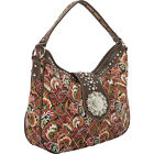 Montana West Buckle Concho Collection Hobo 2 Colors Fabric Handbag NEW