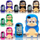 For iPhone 4G Monkey Style 3D Silicone Case Cover