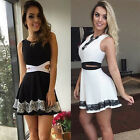 UK Womens Celeb Sexy Mini Dress Ladies White Lace Summer Beach Party Sun Dress