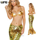 Mermaid Celebrity Fancy Dress Cosplay Sexy Glod Bra Bikini Costume Women Party