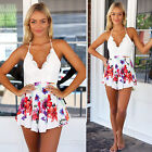 New Women Lace V-neck Chiffon Summer Backless Jumpsuit Short Rompers Playsuit