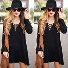 New Women Lace Up Tie V Neck Loose Long Sleeve Swing Top Shirt Mini Dress Casual