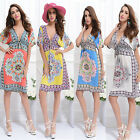 Sexy Fashion Women Summer Boho Deep V-neck Floral Dress Beach Cover Up Sundress