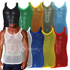 Mens String Mesh Vest Fitted 100% Cotton Gym Trainning Tank Top T shirt Fish Net