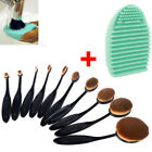 10pc Oval Cream Puff Cosmetic Toothbrush Shaped Makeup Foundation Powder Brushes