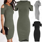 LADIES ASYMMETRIC HEM COLD SHOULDER MIDI RIBBED DRESS WOMENS BODYCON CUT OUT TOP