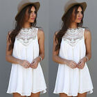 Sexy Women Loose Chiffon Sleeveless Cocktail Sundress Summer Short Mini Dress