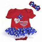 Baby Happy 1st 4th July Heart Birthday Bodysuit Tutu Party Dress