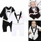 Toddler Baby Boys Gentleman Romper Jumpsuit Bodysuit Kids Clothes Outfit 0-24M