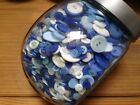 CHINA BLUE Mix - Assorted Style Buttons Blues White Clear Ivory - 50g mixed bags