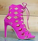 Cape Robbin Heidi Fuchsia Diamond Cut Open Toe Booty Shoe Pump  6 - 11