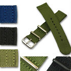 Nylon military army style watch strap band HARD WEARING blue green black buckle