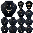 Fashion Women Bridal Flower Drop Jewellery Set Crystal Necklace and Earrings Set