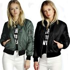 Womens Quilted Classic Zip Up Short Jacket Padded Bomber Biker Coat Outerwear B2