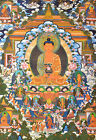 "32"" LONG LIFE BLESSED BROCADE WOOD SCROLL TIBETAN THANGKA: PARADISE OF BUDDHA"