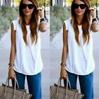 Women Ladies Summer Fashion Sleeveless White Chiffon Blouse Tops T shirt B20E