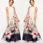 Women Summer Sleeveless Boho Long Maxi Evening Party Dress Beach Floral Sundress