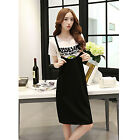 Women Casual Summer Plus Size Slim T-Shirt Shirt Tops   Suspender Dress 2pcs Set