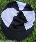 Lycra Riding Hat Silk Skull cap Cover BLACK & WHITE *  With OR w/o Pompom