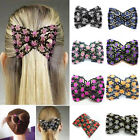 Pop Mum Gift Magic Stretch Rose Flower Bow Bead Hair Head Comb Cuff Double Clip