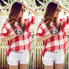 New Womens Long Sleeve Checked Shirt Ladies Summer Button Down Tops Blouse 6-22